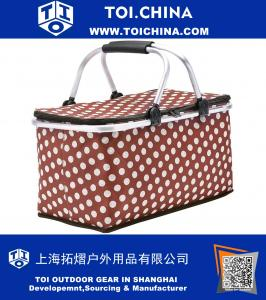 Picnic Basket, Insulated Folding Collapsible Market Picnic Basket Zip Closure Basket with Carrying Handles for Outdoor Picnic